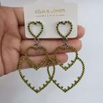 Brinco Grande Coração Prata Verde