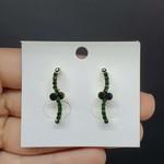 Brinco Ear Hook Dourado Verde