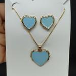 Conjunto Coração Dourado Azul Claro
