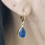 Mini Argola Folheada Dourado Gota Azul Escuro