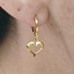 Mini Argola Folheada Dourado Coração