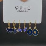 Kit De Mini Argolas Coração Dourado Azul Marinho