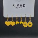 Kit De Mini Argolas Coração Dourado Amarelo