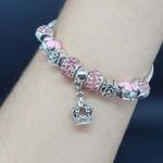 Pulseira Pandora Coroa Prata Rosa Claro