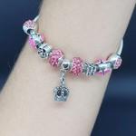 Pulseira Pandora Coroa Prata Rosa Escuro