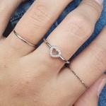 Kit De Anéis Zircônia Coração Prata