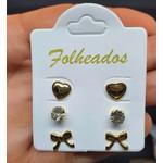 Kit De Brincos Folheados Dourado Laço