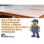 Kit 2 Chapas de Policarbonato Alveolar 210 x 600cm 6 Milímetros e Acessórios