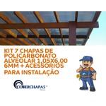 Kit 7 Placas de Policarbonato 105 x 600 x 6 mm e acessórios para Instalação de sua cobertura