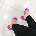 Sandália Feminina Offline Salto Baixo Fosca Pink
