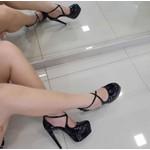 Sapato Feminino Di Cristalli Meia Pata Salto Fino Preto