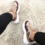 Tênis Feminino Sapatenis Via Marte Camurça Sneaker Recorte Marsala