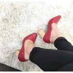 Scarpan Feminino Camminare Salto Grosso Salto Madeira Vermelho