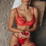 Conjunto de Lingerie Vermelha Brigitte