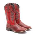 Bota Country Feminina Dilley - Fossil - Vermelho / Marrom