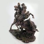 São Jorge na Cor Bronzeado em Resina Importada
