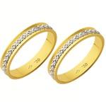Alianças de casamento e noivado 2 tons em ouro 18k. 750 trabalhada 3,70 mm