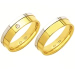 Alianças de casamento e noivado em ouro 18k 750 trabalhadas com diamante 2 tons 5.5 mm