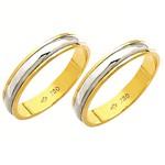 Alianças de casamento e noivado em ouro 18k 750 2 tons 4 mm
