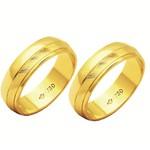 Alianças de casamento e noivado em ouro 18k 750 trabalhadas e diamantadas 6 mm