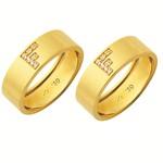 Alianças de casamento e noivado em ouro 18k 750 trabalhadas com inicial de pedras 6.5 mm