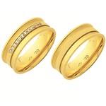 Alianças de casamento e noivado em ouro 18k 750 trabalhadas côncavo anatômica com pedras 7.00 mm