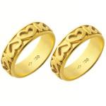 Alianças de casamento e noivado em ouro 18k 750 trabalhadas 6.4 mm