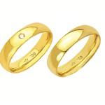 Alianças de casamento e noivado em ouro 18k 750 com pedra tradicional e anatômica 5 mm