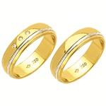 Alianças de casamento e noivado em ouro 18k 750 com diamantes trabalhadas 2 tons 5,5 mm