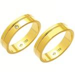 Alianças de casamento e noivado anatômicas com frisos em ouro 18k 750 com diamante.