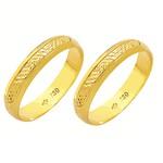 Alianças de casamento e noivado em ouro 18k 750 trabalhadas 4 mm