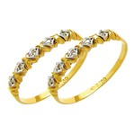 Par de Aparador de Aliança para noivado e casamento 02 tons em ouro 18k 750 com diamantes