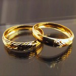 Par Aparador de aliança em Ouro para noivado e casamento 2 peças