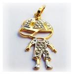 Pingente de Ouro Menino com ouro Amarelo e Branco