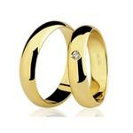 Alianças de casamento e noivado em ouro 18k 750 tradicional com diamante 5,50 mm