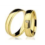 Alianças de casamento e noivado em ouro 18k 750 trabalhadas com frizos e pedra de diamante 5.50 mm