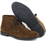 Botina Luxury Desert Boots Chelsea com Cadarço Café com sola Preta ESCRETE