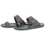 Chinelo masculino Casual em couro-Ref:03