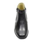 Botina Sola Concha costurado Conforto 402 em couro Preta com Zipper