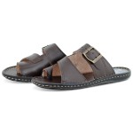 Chinelo masculino Casual em couro-Ref: 04