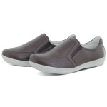 Sapatênis Masculino Casual Em couro Legitimo Palmilha Gel-Sapato Fechado-Marrom- Ref:5000
