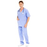 Conjunto Cirúrgico em Algodão Hospitalar Gola V Manga Curta - Azul Bebê