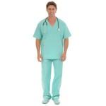 Conjunto Cirúrgico em Algodão Hospitalar Gola V Manga Curta - Verde