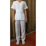 Conjunto Cirúrgico Feminino em Microfibra Manga Curta Branco - Plus Size