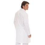 Jaleco Unissex Plus Size em Oxford Gola Sport Manga Longa Branco