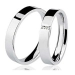 Par De Aliança Casamento De Ouro Branco 18k Com 3mm e Diamantes