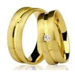 Par De Aliança Casamento De Ouro 18k Com 5mm e Diamante