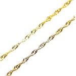 Corrente De Ouro 18k Singapura Tricolor De 1,5mm Com 40cm