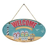 PLACA DECORATIVA BEACH WELCOME 40X0,5X21,5CM EM FERRO