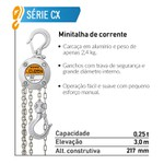 Talha Manual de Corrente 250kg 3 Metros -_ Kito CX003